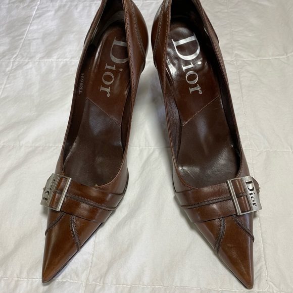 Christian Dior brown leather heels size 5